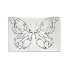 Black and white butterfly Rectangle Magnet