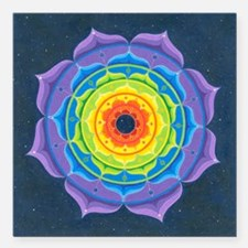 "Rainbow Lotus Mandala Square Car Magnet 3"" x 3"""