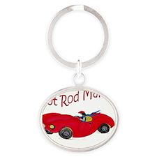 Hot Rod Mama Oval Keychain