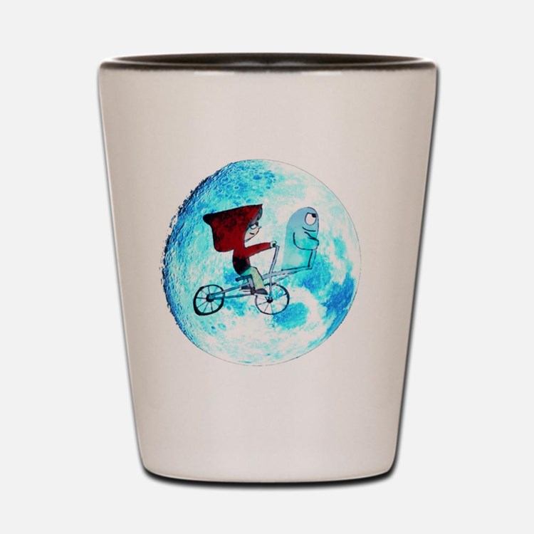 Fly Me to the Moon (white background) Shot Glass