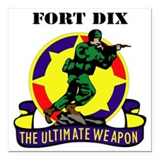 """Fort Dix with Text Square Car Magnet 3"""" x 3"""""""