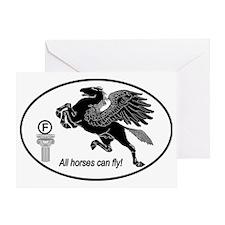 Pegasus_Black_Oval Greeting Card