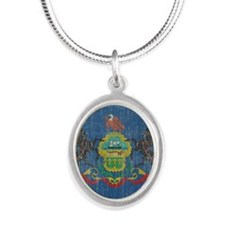 Vintage Pennsylvania Flag Silver Oval Necklace