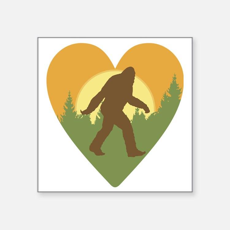 "Bigfoot Love Square Sticker 3"" x 3"""