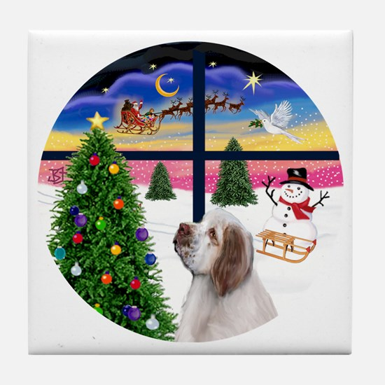 R-XmasWindow-ClumberSpaniel Tile Coaster