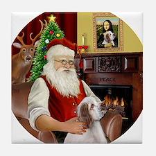 R-Santa-ClumberSpaniel Tile Coaster