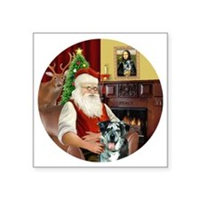 "R-Santa-CatahoulaLeopardDog Square Sticker 3"" x 3"""