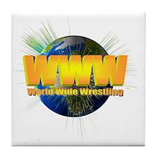 World Wide Wrestling Logo Blast White Tile Coaster