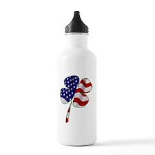 4 leaf clover american Water Bottle