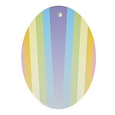 Pastel Rainbow Oval Ornament