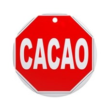 Cacao Stop Sign Round Ornament