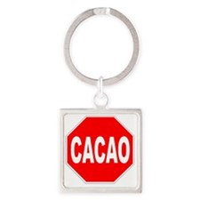 Cacao Stop Sign Square Keychain