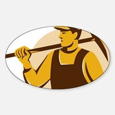 miner worker with pick ax retro Sticker (Oval)