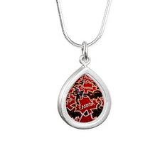 Natinal symbol of Canda Silver Teardrop Necklace