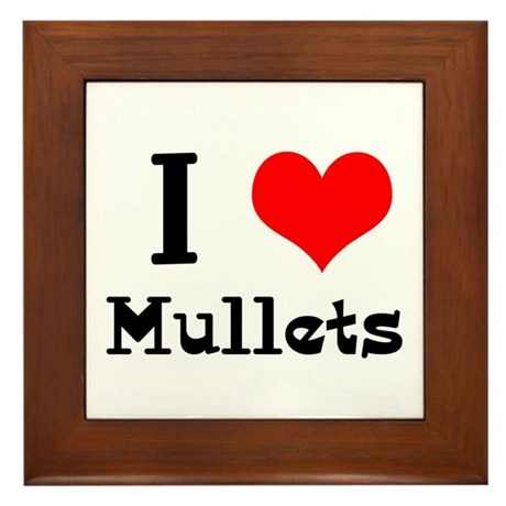I Heart (Love) Mullets Framed Tile