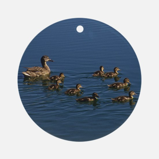 Duck Family Round Ornament