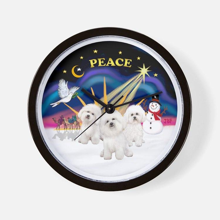 Three Bichons Wall Clock