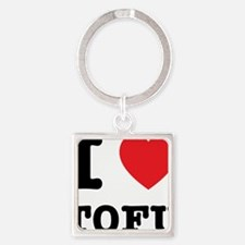 I Heart Tofu Square Keychain
