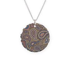 Beige Rose Mosaic Paisley Necklace