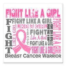 "D Fight Like a Girl 44.4 Square Car Magnet 3"" x 3"""