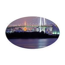Rainbow bridge in Tokyo Oval Car Magnet