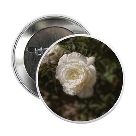 """Whipped Cream White Rose 2.25"""" Button"""