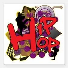 "HIP HOP YO Square Car Magnet 3"" x 3"""