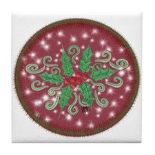 Sparkly Holly Tile Coaster