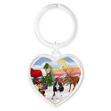 Tri Cavalier Heart Keychain