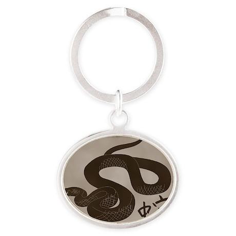 Snake3cafelight Oval Keychain