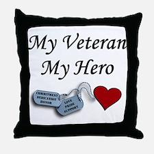 My Veteran My Hero Dog Tags Throw Pillow