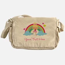 Personalized Ballerina Girl rainbow Messenger Bag