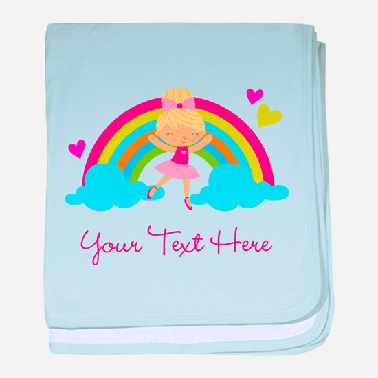 Personalized Ballerina Girl rainbow baby blanket