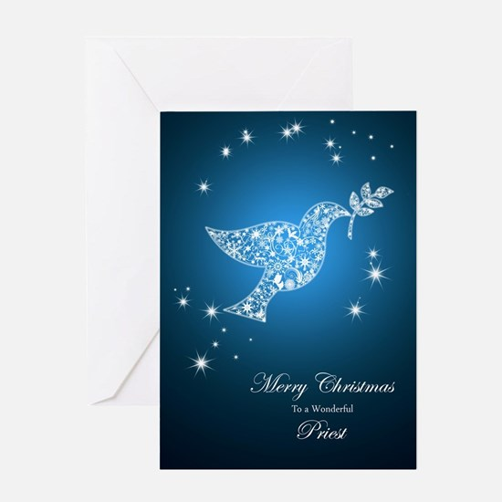 Dove of peace Christmas card for a priest Greeting