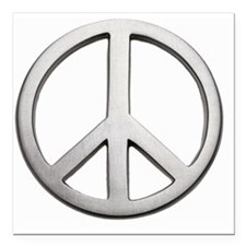 "Metal peace sign, close- Square Car Magnet 3"" x 3"""