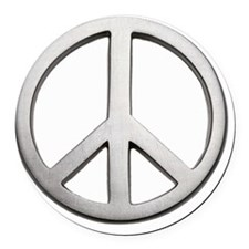 Metal peace sign, close-up Round Car Magnet