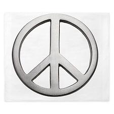 Metal peace sign, close-up King Duvet