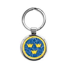 Sweden Roundel Cracked Round Keychain