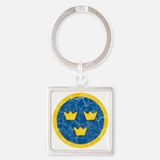 Sweden Roundel Cracked Square Keychain