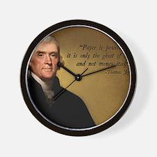 Thomas Jefferson Money Quote Wall Clock