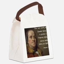Benjamin Franklin Quote Canvas Lunch Bag