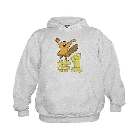 Number One Cartoon Beaver Kids Hoodie