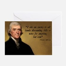 Thomas Jefferson Banking Quote Greeting Card