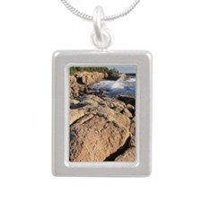 Waves breaking on coastl Silver Portrait Necklace