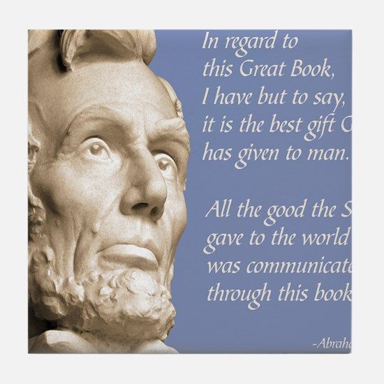 Abraham Lincoln Bible Quote Tile Coaster