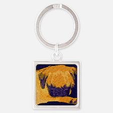 Sleeping Pug Puppy Square Keychain
