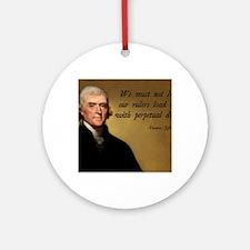 Thomas Jefferson Debt Quote Round Ornament