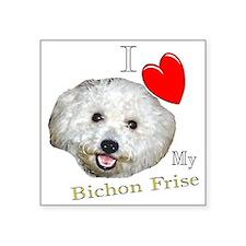 "I Love My Bichon Frise Square Sticker 3"" x 3"""