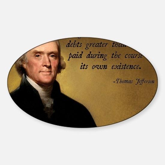 Jefferson Debt Quote Sticker (Oval)