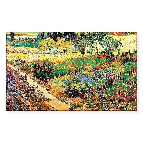 Flowering Garden with Path, Vi Sticker (Rectangle)